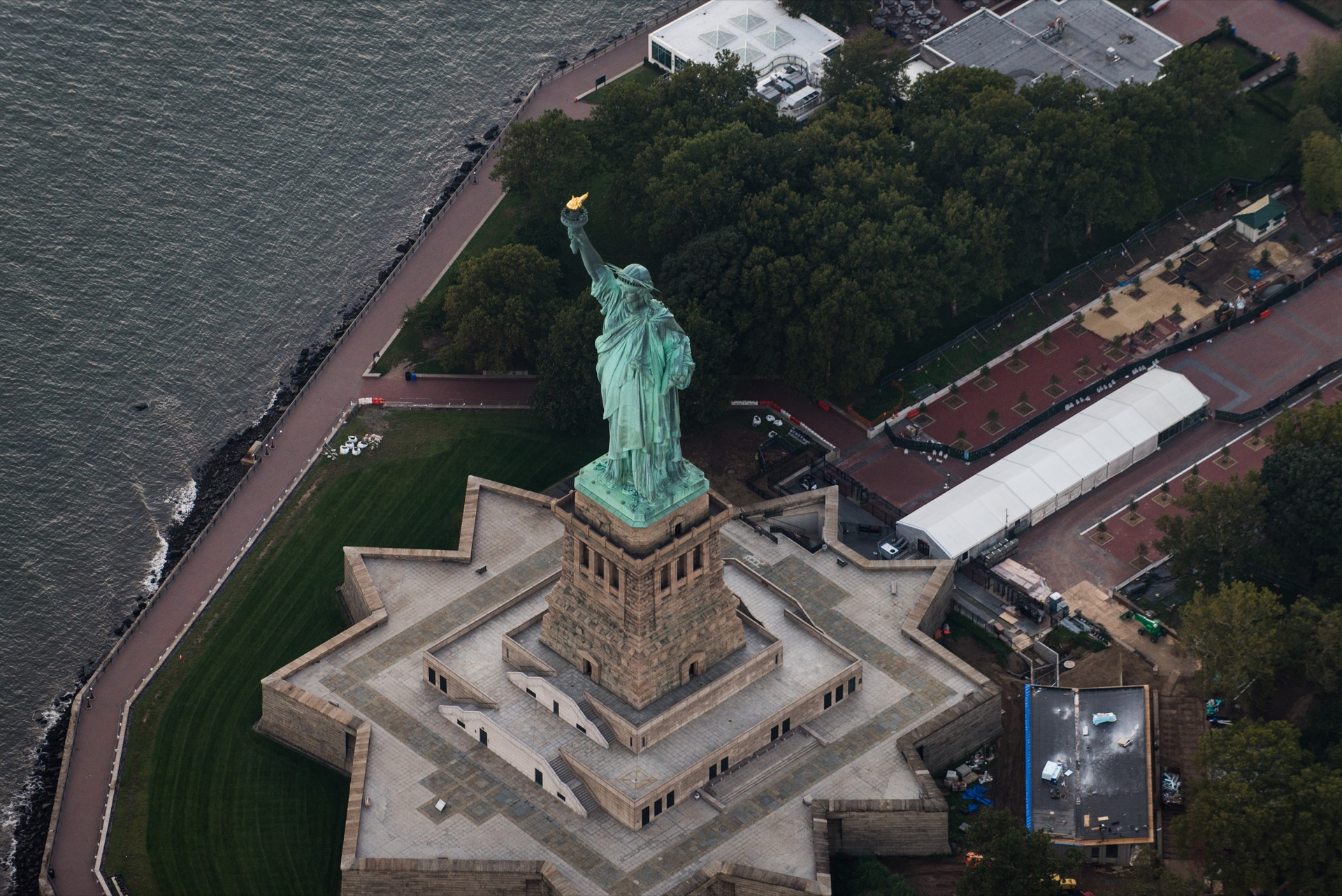 Statue of Liberty from above, New York - View of NY landmarks from helicopter tour